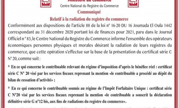 Communiqué relatif à la radiation du registre du commerce